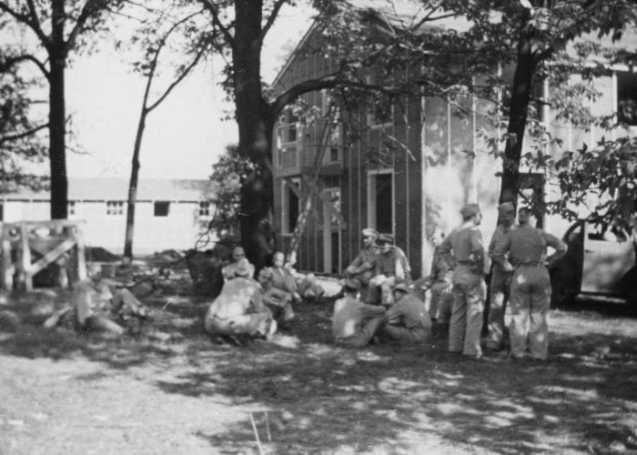 Soldiers at Fort Benjamin Harrison waiting for the others from the 12th General hospital to arrive