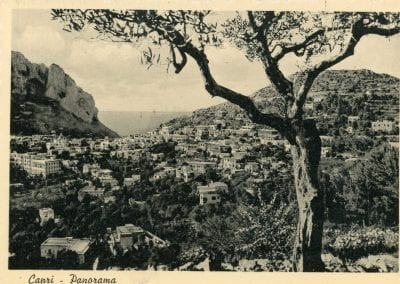 Vintage image of the water and mountains in Capri