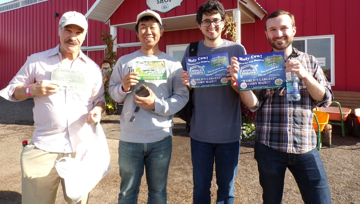 Ratner Group Membeer Corn Maze Field Trip: Left to Right: Mark A. Ratner, Bo Fu, Martin Mosquera, Brandon Rugg