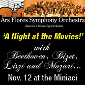Enjoy classical music from popular films with 'A Night at the Movies' performed by the Ars Flores Symphony Orchestra.