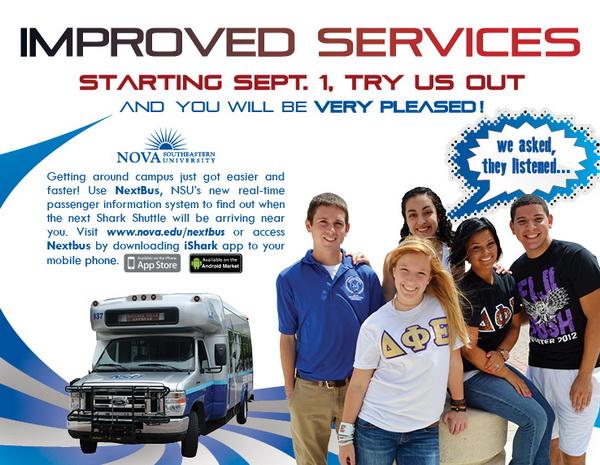 NSU Shark Shuttle, improved services starting September 1, 2012