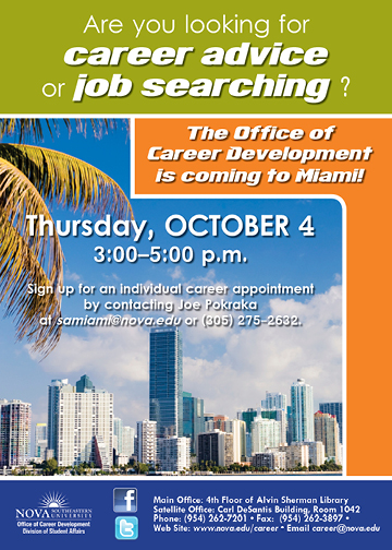 Career Office will be in Miami for career advisement