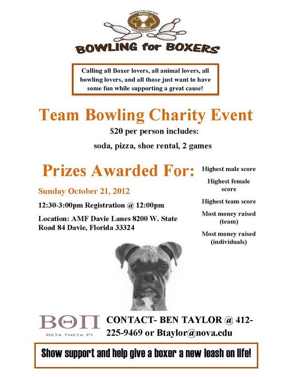 Bowling for Boxer, team bowling charity event
