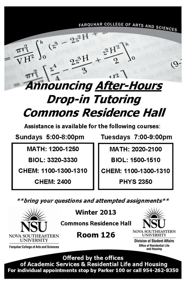 Announcing After-Hours Drop-in Tutoring