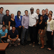 NSU students with Cliff Floyd