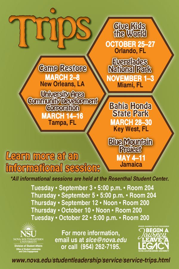 NSU Service Trips--schedule