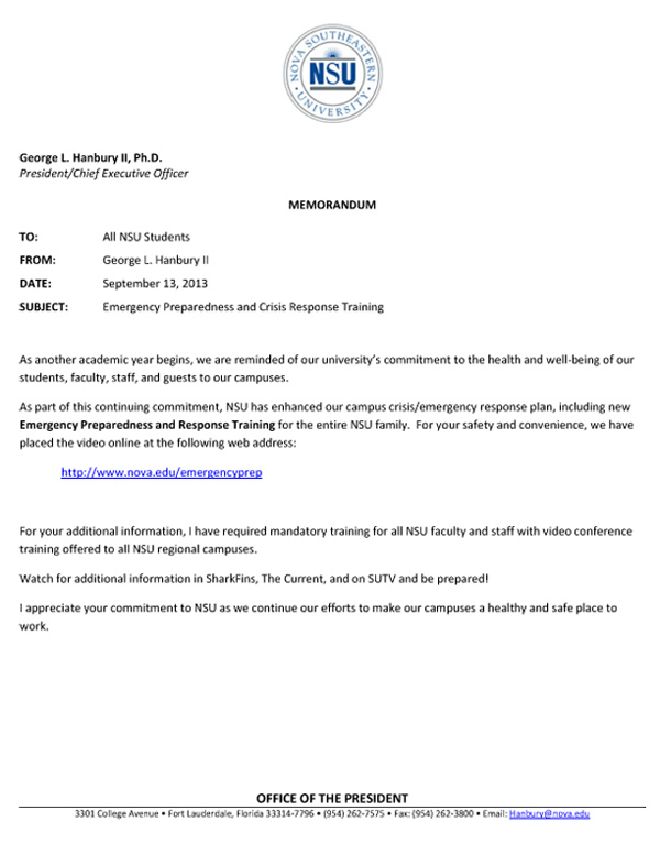 Memo to NSU Students--from President Hanbury--9-13-13