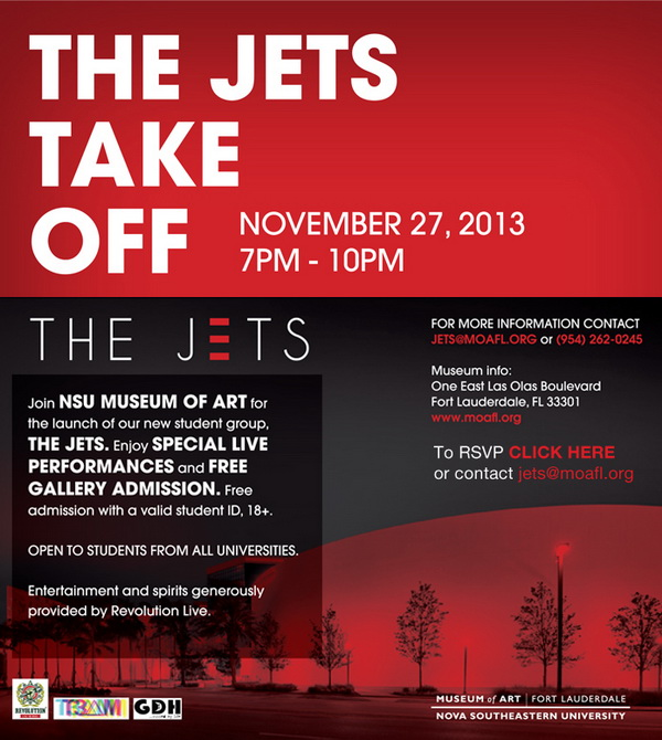 Launch Party for The Jets at NSU Museum of Art, Nov. 27