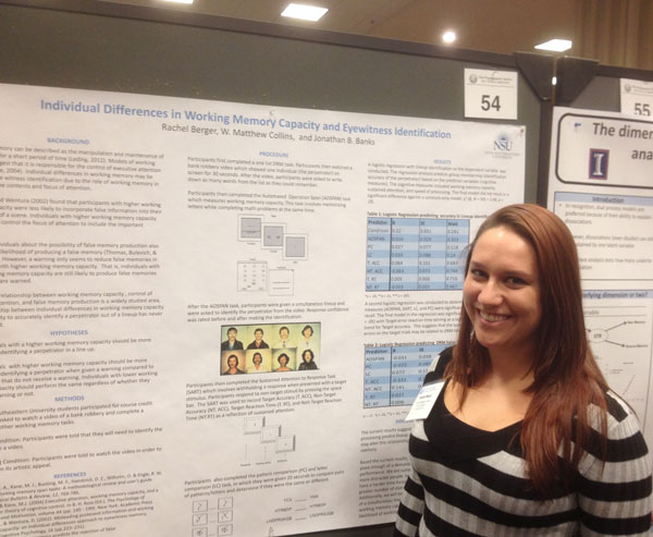 Honors biology major Rachel Berger presented a research poster on the memories of eyewitnesses at the 54th Annual Meeting of the Psychonomic Society in Toronto, Canada, Nov. 14–17.
