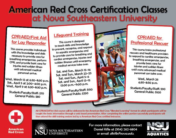 nsu aquatics is offering american red cross certification classes ...
