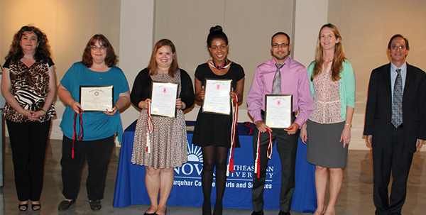 (from left) Marlisa Santos, Ph.D., director of the Farquhar College of Arts and Sciences Division of Humanities; English major Karen Batcho; communication studies majors Maria Almillategui Arango, Lauren McGarrett, and Juan Rivera; Megan Fitzgerald, Ph.D., assistant professor; and Don Rosenblum, Ph.D., dean of the college