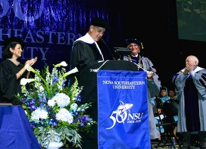 U.S. Rep. Mario-Diaz-Balart receives a standing ovation while delivering the keynote address at NSU's Health Professions Division Commencement ceremonies