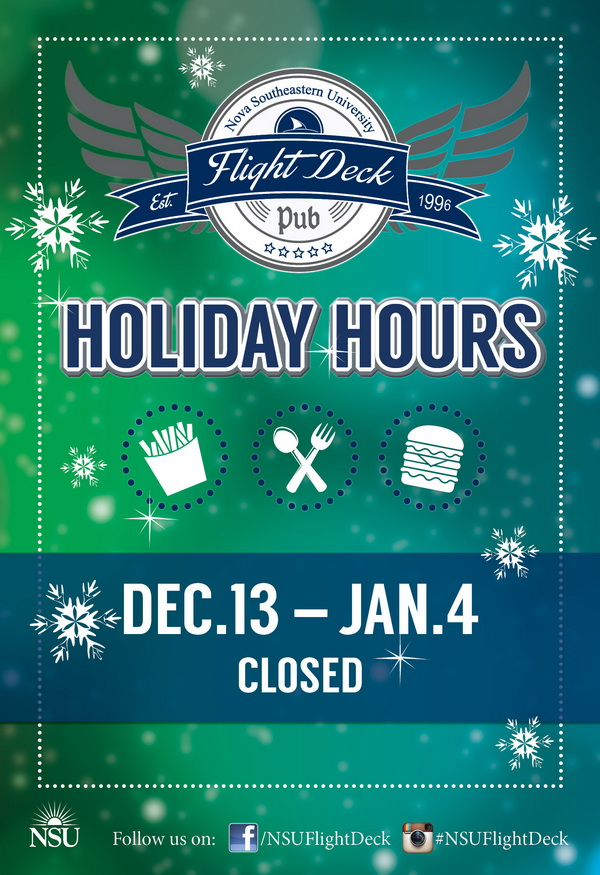 Flight Deck Winter Break Hours 2014-2015
