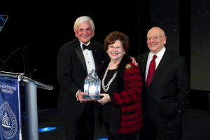 NSU President Dr. George L. Hanbury II with Judy and Dr. Barry Silverman, 2015 NSU President's Award for Excellence in Community Service honorees