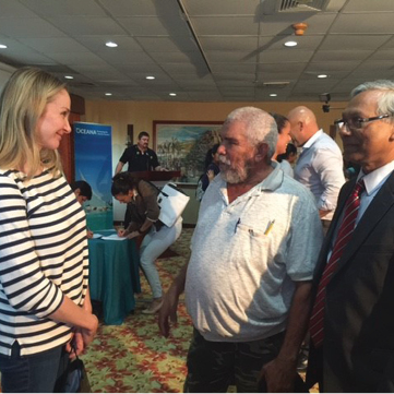 Alexandra Cousteau, Mr. Chavarria, local fisherman, and Dr. Albert Williams. Mr. Chavarria was telling Alexandra that he was her grandfather's first guide to explore marine life in Belize.