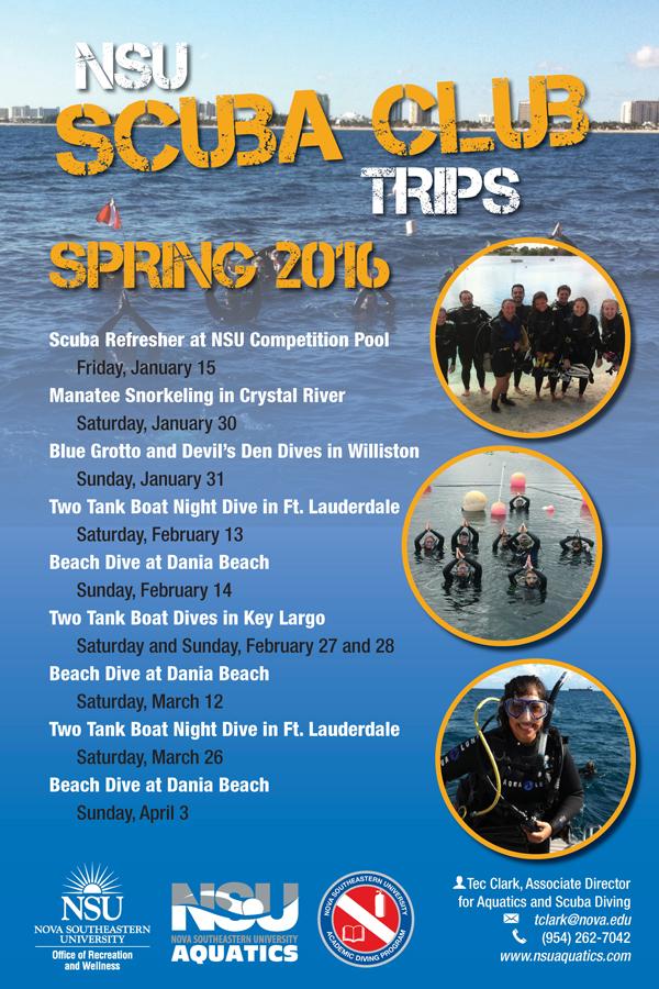 Scuba Club Trips for Spring 2016
