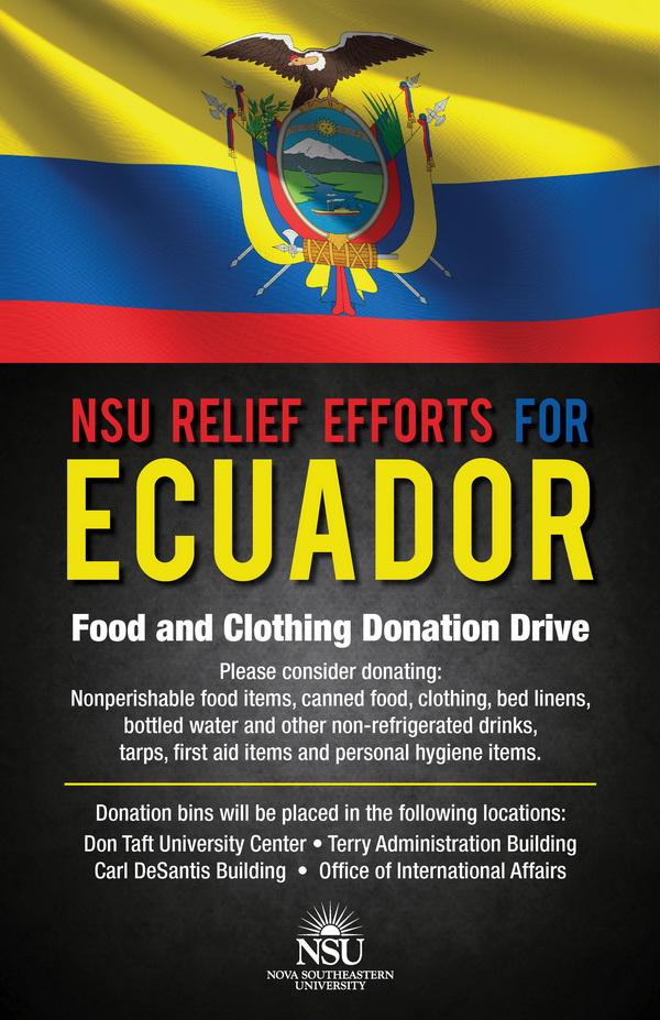 NSU Relief Efforts for Ecuador