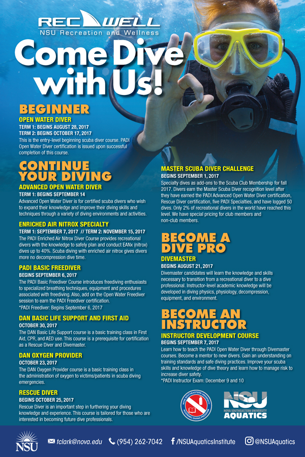 Learn To Dive With Us Next Class Oct 30 Nsu Sharkfins