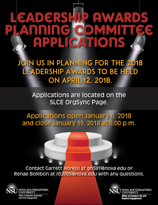 Leadership Awards Planning Commitee Applications