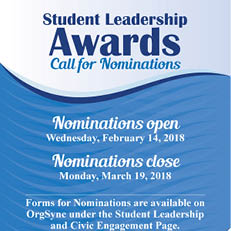 Student Leadership Awards–Call for Nominations (Deadline: Mar. 19)
