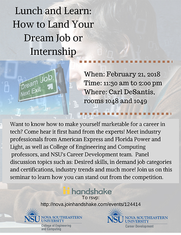 lunch and learn  how to land your dream job or internship