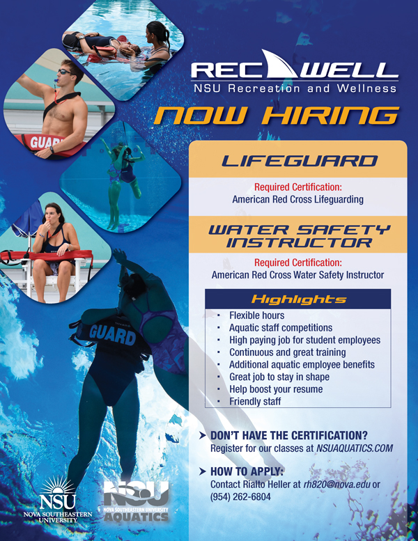 RecWell Now Hiring Lifeguard & Water Safety Instructor