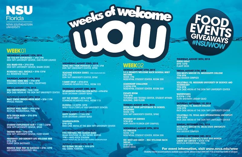 WOW: Weeks of Welcome August 15 – September 3, 2018 – NSU