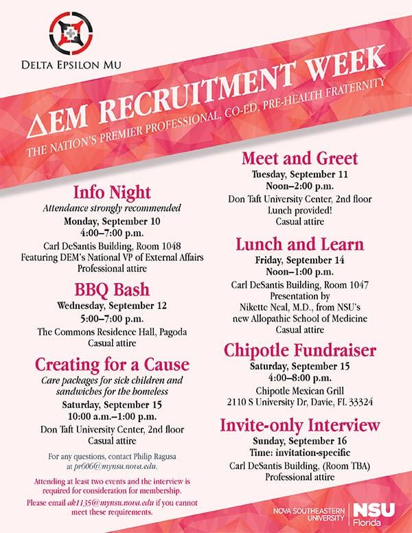 Delta Epsilon Mu Recruitment Week