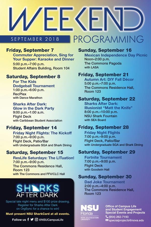 Weekend Programming September 2018