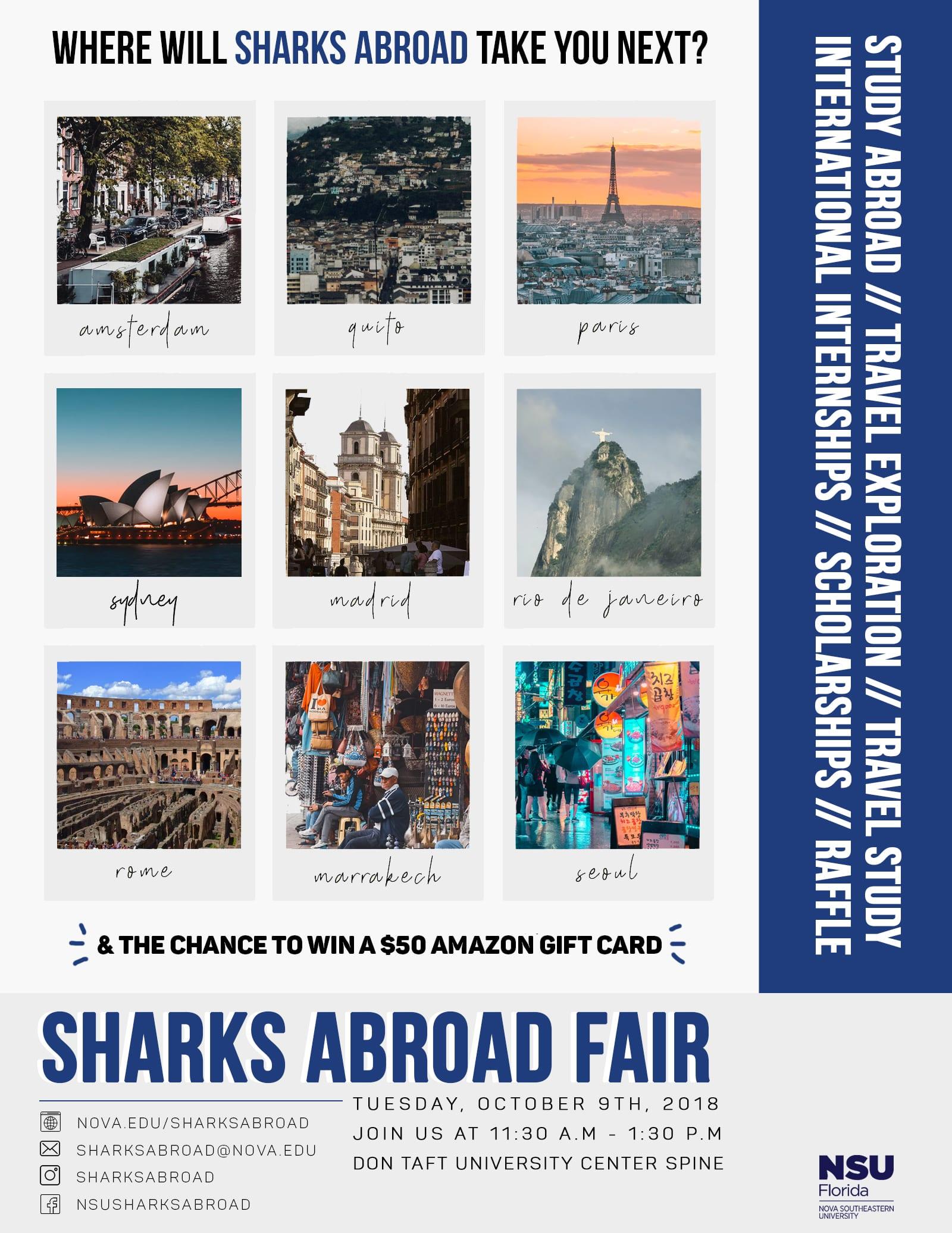 Visit NSU's Sharks Abroad Fair on Oct  9 – NSU SharkFINS