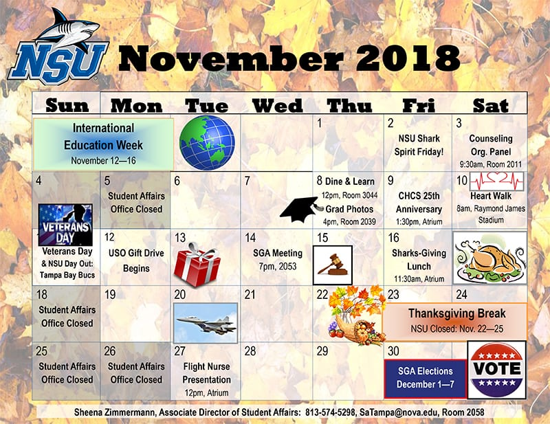 Tampa---Calendar of Events November 2018