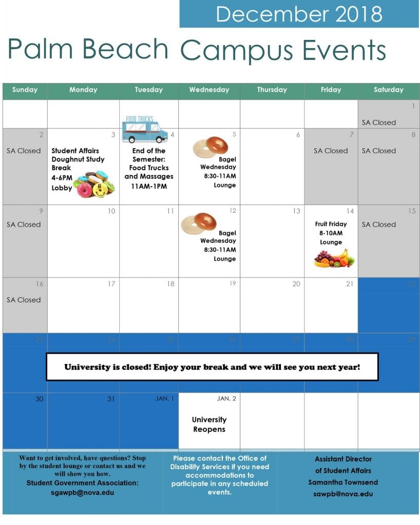 End of Semester Events Fall 2018