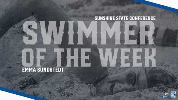 Sundstedt Picks Up Second SSC Swimmer of the Week Award of the Season