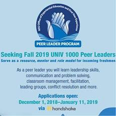 Seeking Fall 2019 UNIV 1000 Peer Leaders