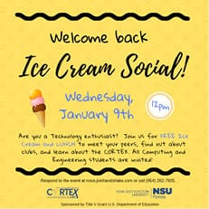 Computing and Engineering Students - Welcome Back Ice Cream Social (Jan. 9)
