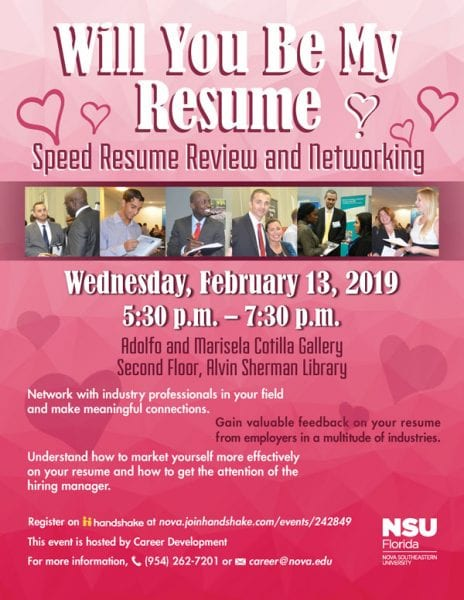 Will You Be My Resume - Speed Resume Review and Networking