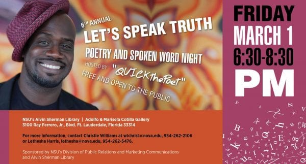 Want a chance to show your creativity? Perform at the Let's Speak Truth Poetry & Spoken Word Night