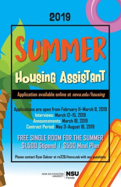 Summer Housing Assistant 2019 Applications