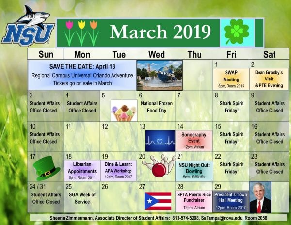 Tampa--Calendar of Events for March 2019