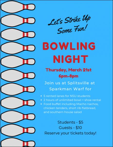 NSU Night Out: Splitsville Bowling