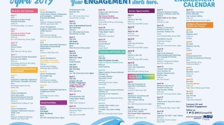 Engagement Calendar April 2019