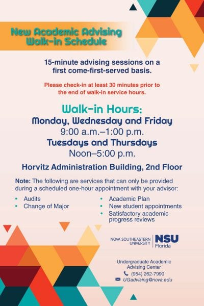 New Academic Advising Walk-In Schedule