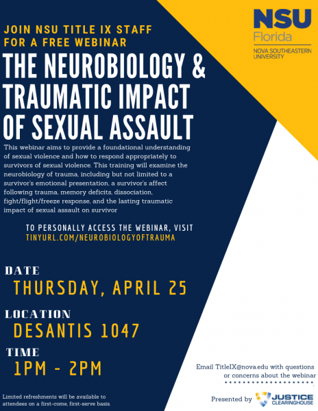 "Webinar - ""The Neurobiology & Traumatic Impact of Sexual Assault"