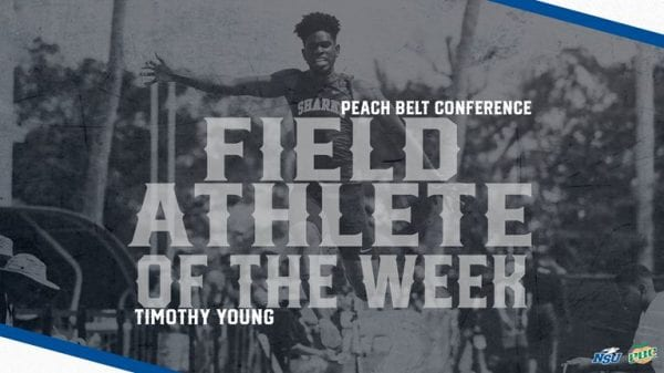 Sharks' Young Earns Second Peach Belt Field Athlete of the Week