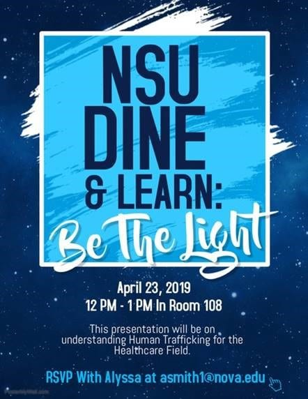 Dine & Learn: Be the Light – Human Trafficking & Healthcare Professionals