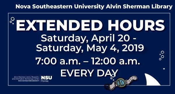 Alvin Sherman Library Extended Hours