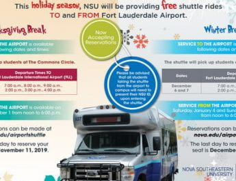 Shark Shuttle Services During Holiday Breaks, Fort Lauderdale Airport From/To Campus (Register by Nov. 11)