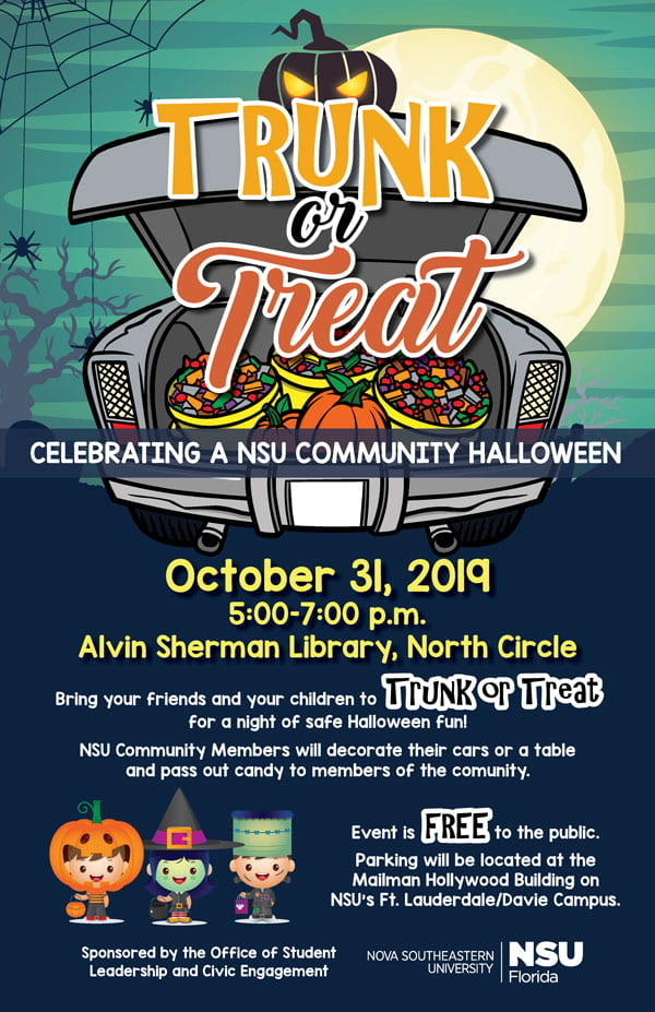 Halloween Events Fort Lauderdale 2020.Trunk Or Treat Oct 31 Nsu Sharkfins