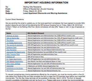 Printed with Permission from M. Greer A Mar. 23 memo which was sent to graduate students living in Rolling Hills listed all of the available deals for each of the 16 apartment complexes which NSU secured discounts for.