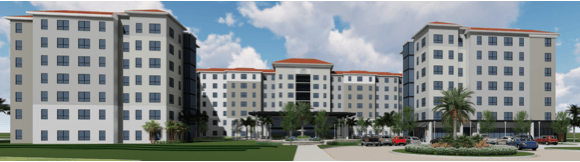 Printed with permission from D. Alfonso Caption: The new residential building will hold 500-600 units and house a portion of NSU's upperclassman population.
